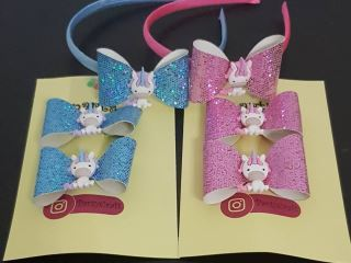 unicorn hairband and clip set