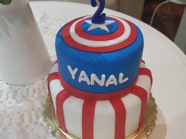Two Tiers Captain America Vanilla Cake