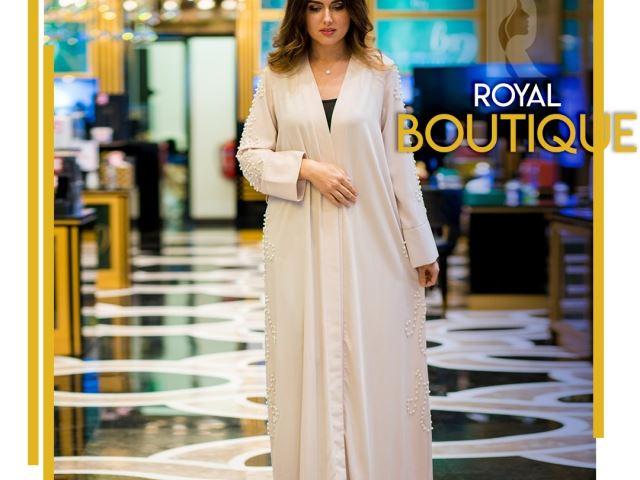 Abaya with pearls , one piece