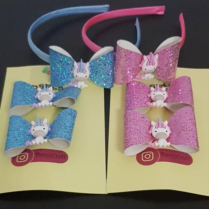 unicorn hairband and clip set