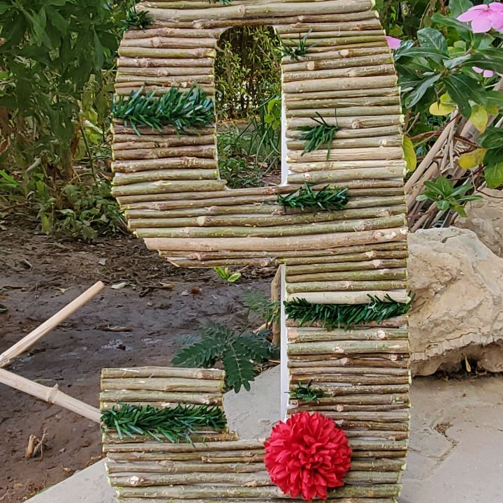 wooden number stand